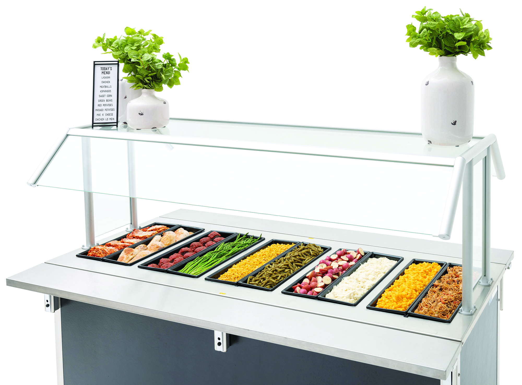 Black SmartFit pans with prepared food in cold bar set up
